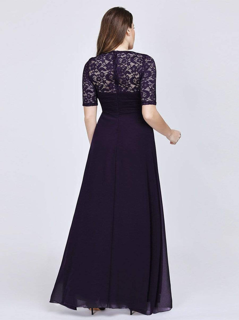 Plus Size Floor Length Empire Waist Evening Dress-Dark Purple2