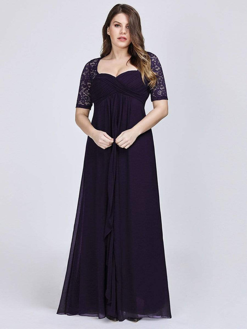 Plus Size Floor Length Empire Waist Evening Dress-Dark Purple3