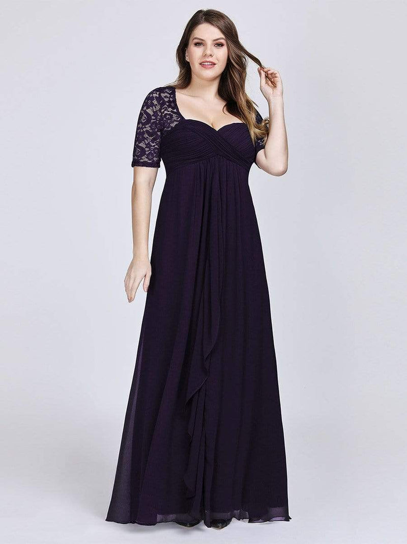 Plus Size Floor Length Empire Waist Evening Dress-Dark Purple4