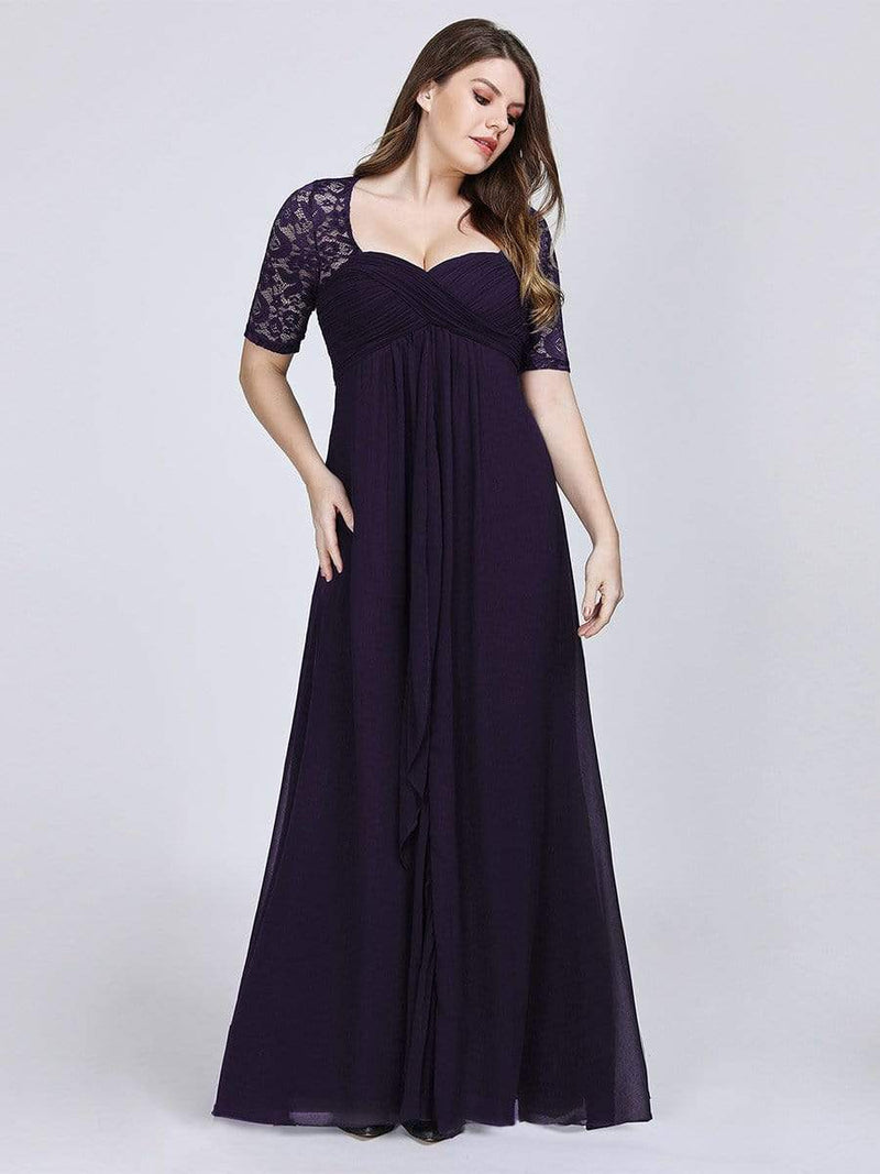 Plus Size Floor Length Empire Waist Evening Dress-Dark Purple1