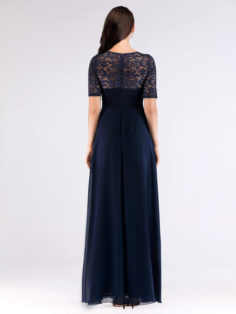 Floor Length Empire Waist Evening Dress-Navy Blue 4