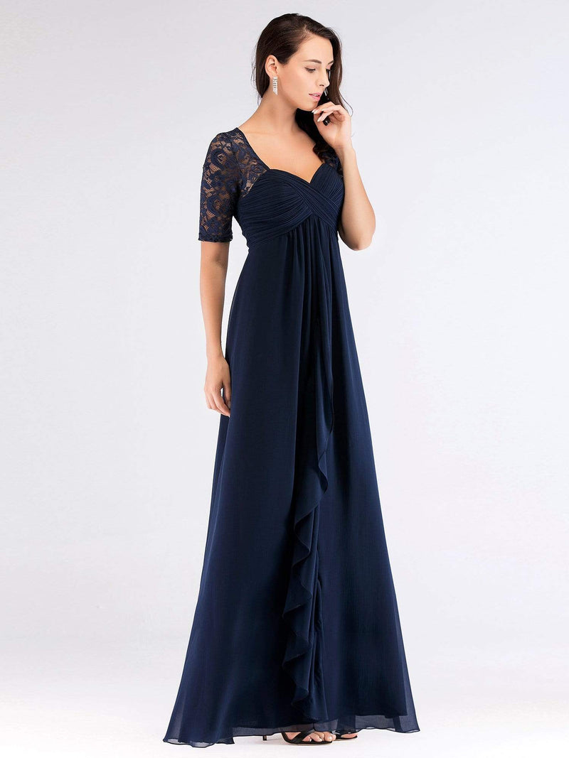 Floor Length Empire Waist Evening Dress-Navy Blue 3