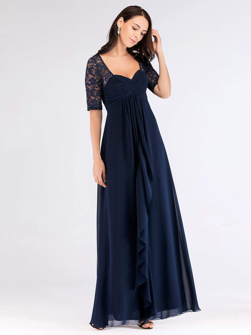 Floor Length Empire Waist Evening Dress-Navy Blue 1