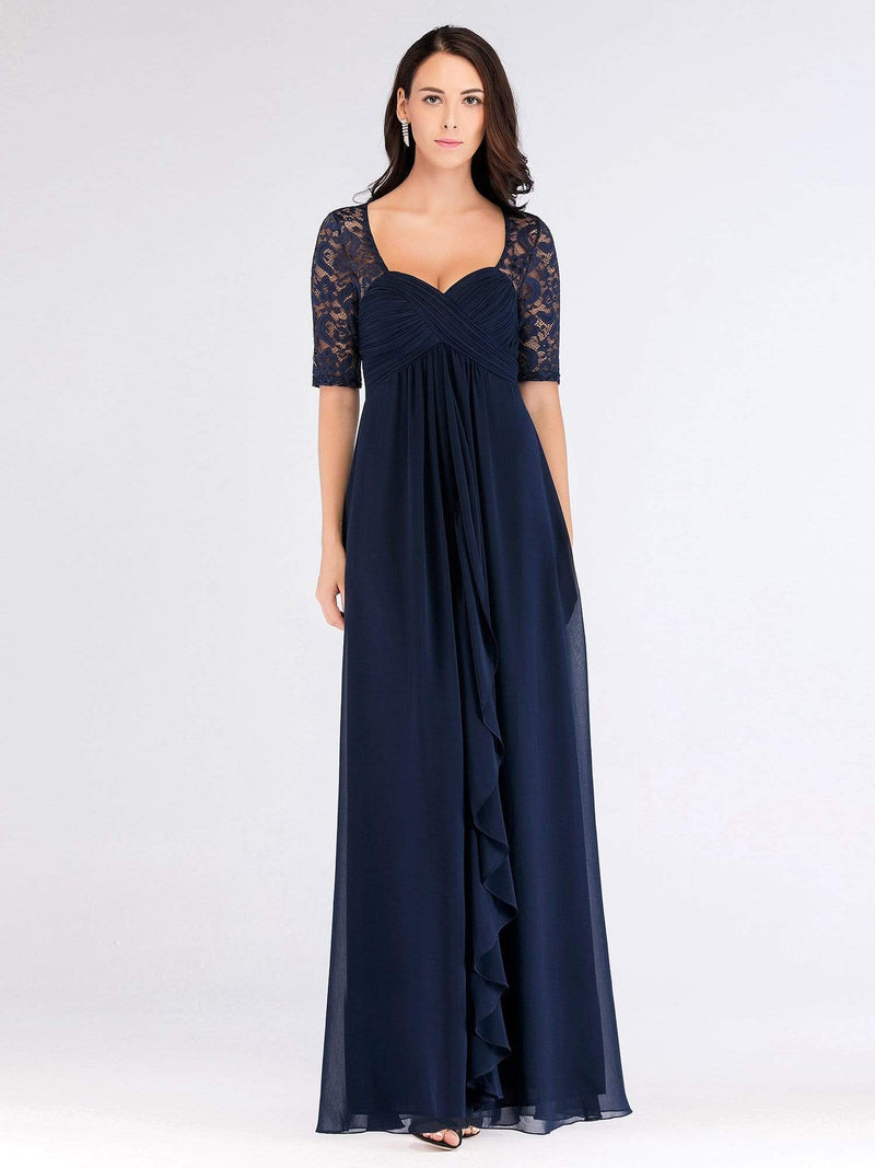 Floor Length Empire Waist Evening Dress-Navy Blue 2