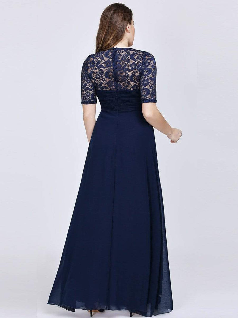 Plus Size Floor Length Empire Waist Evening Dress-Navy Blue 2