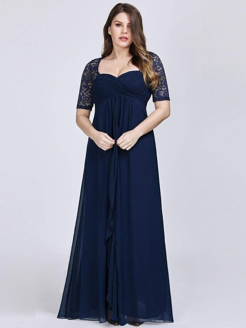 Plus Size Floor Length Empire Waist Evening Dress-Navy Blue 3