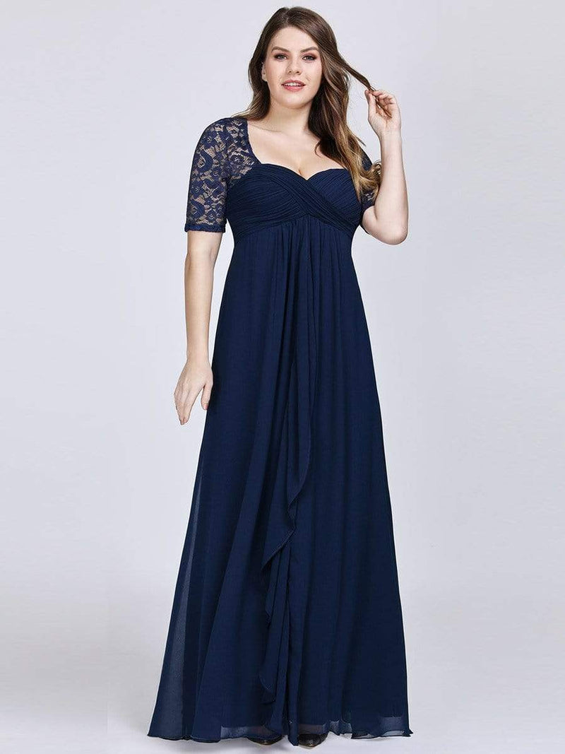 Plus Size Floor Length Empire Waist Evening Dress-Navy Blue 4