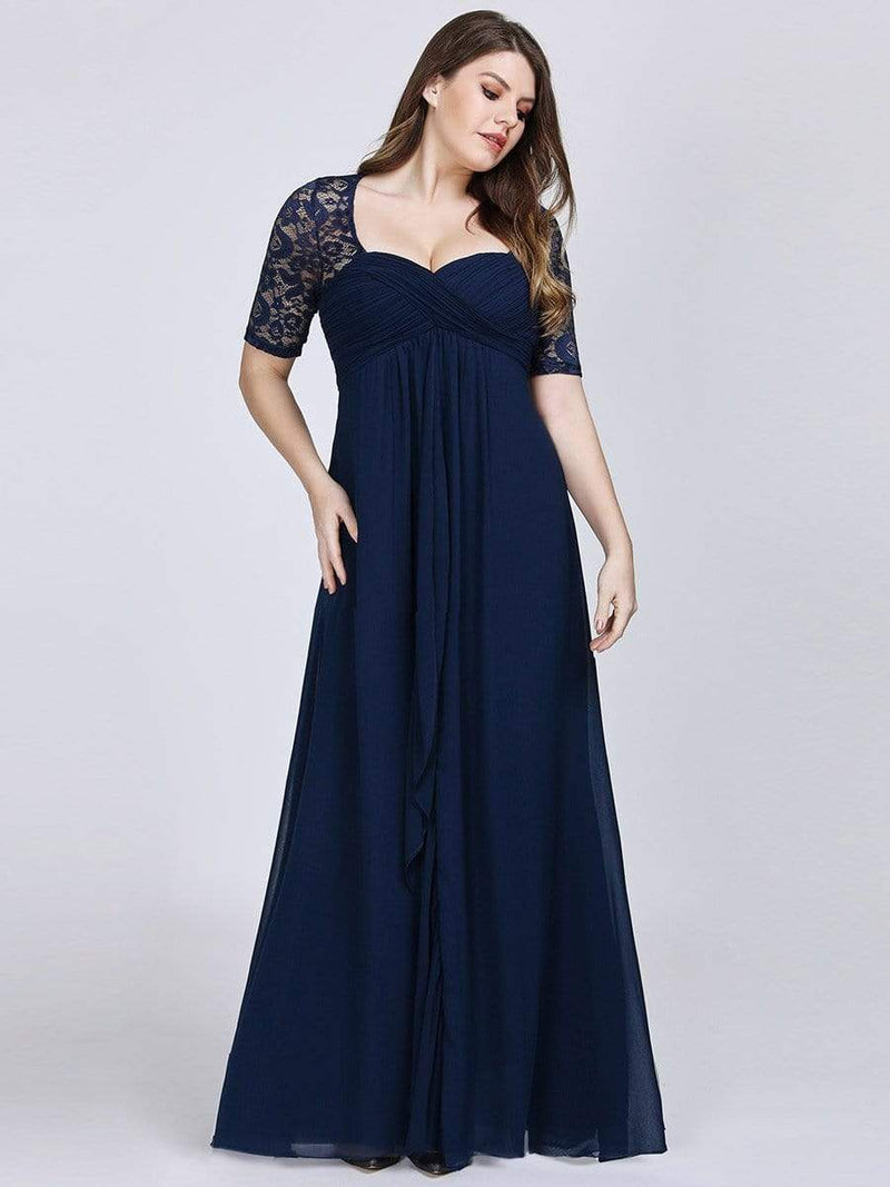 Plus Size Floor Length Empire Waist Evening Dress-Navy Blue 1