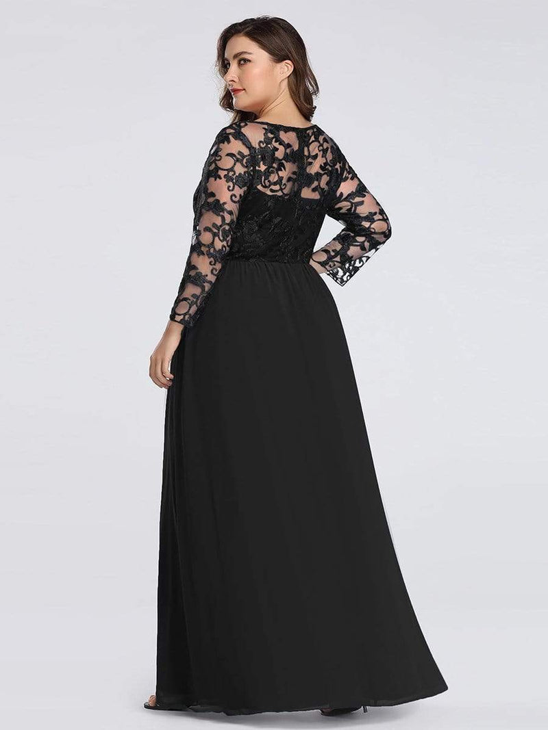 Floor Length Evening Dress With Sheer Lace Bodice-Black 7