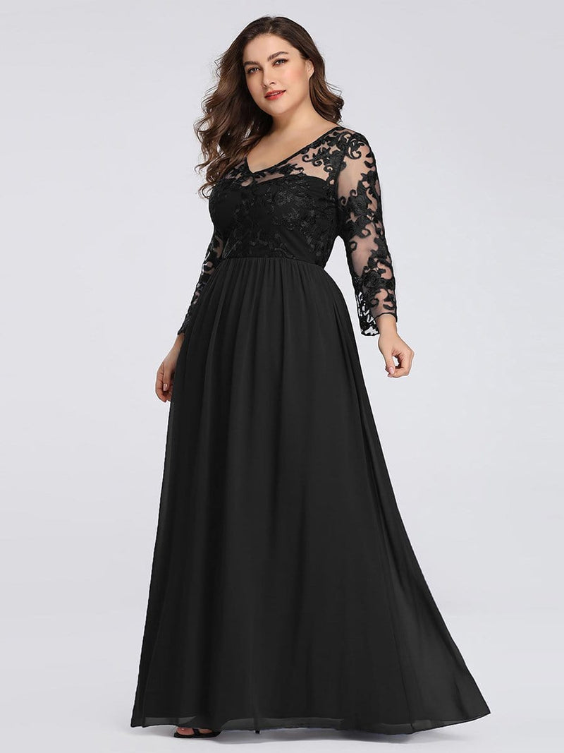 Plus Size Floor Length Evening Dress With Sheer Lace Bodice-Black 3