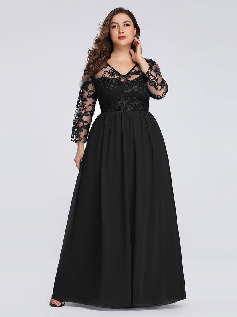 Plus Size Floor Length Evening Dress With Sheer Lace Bodice-Black 1