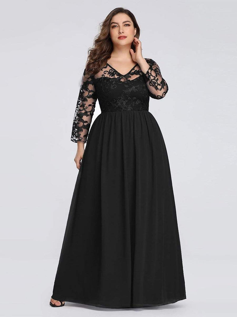 Floor Length Evening Dress With Sheer Lace Bodice-Black 6