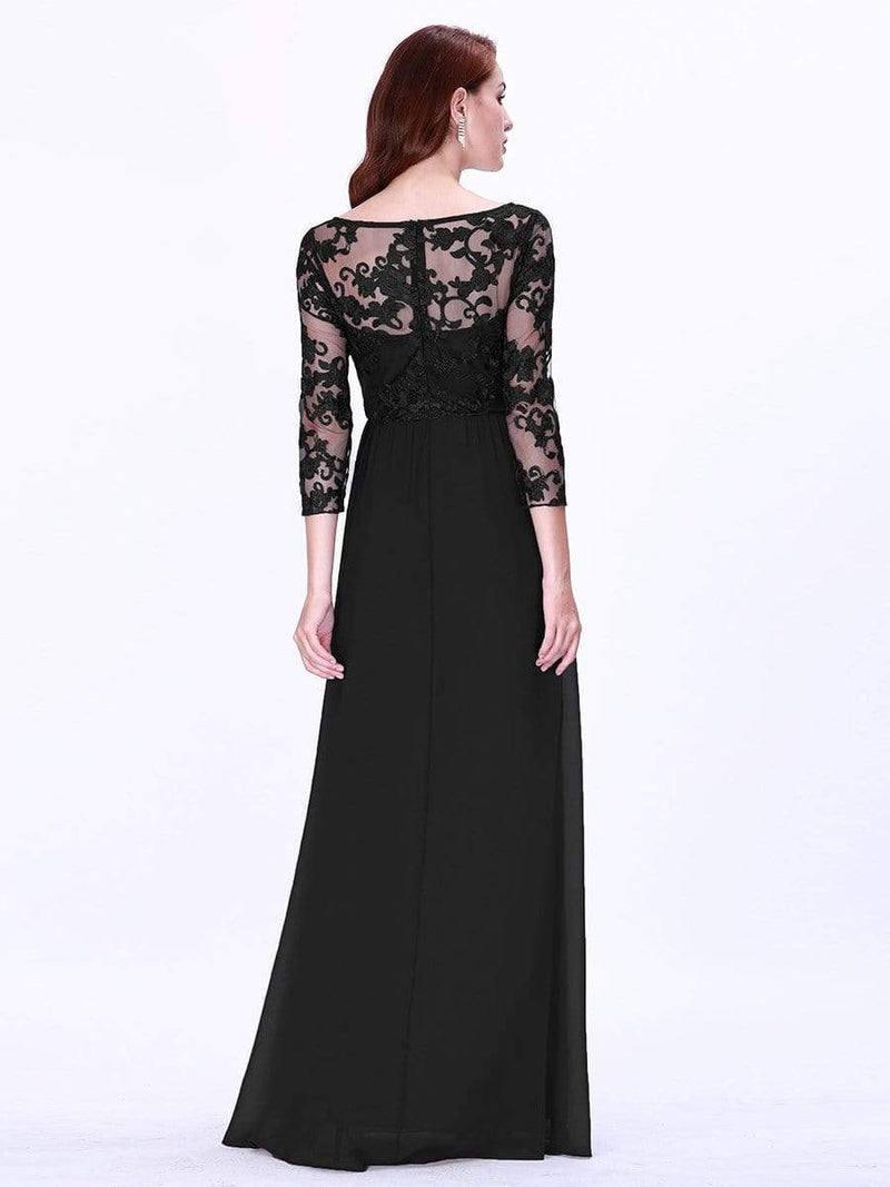 Floor Length Evening Dress With Sheer Lace Bodice-Black 2