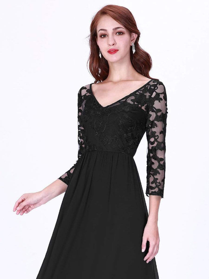 Floor Length Evening Dress With Sheer Lace Bodice-Black 5