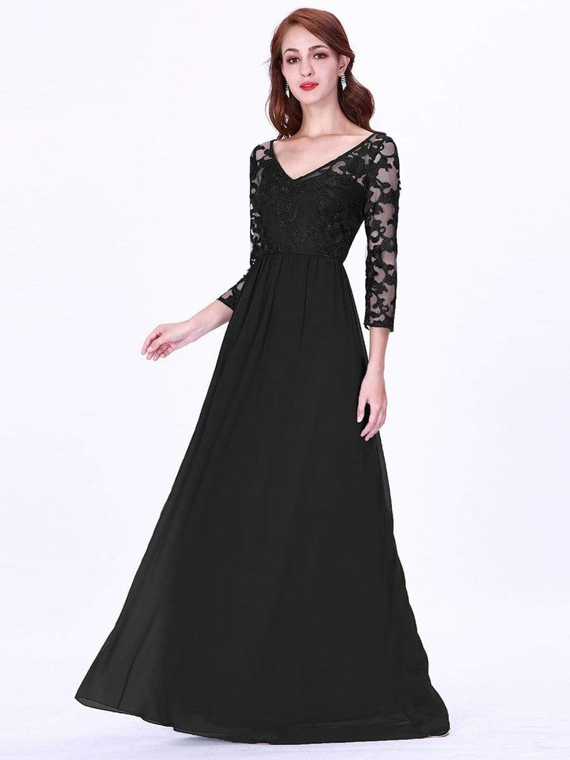 Floor Length Evening Dress With Sheer Lace Bodice-Black 1