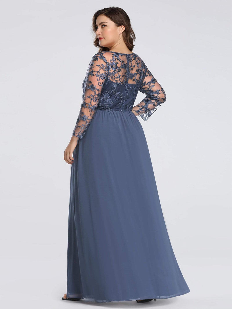 Plus Size Floor Length Evening Dress With Sheer Lace Bodice-Dusty Navy 2