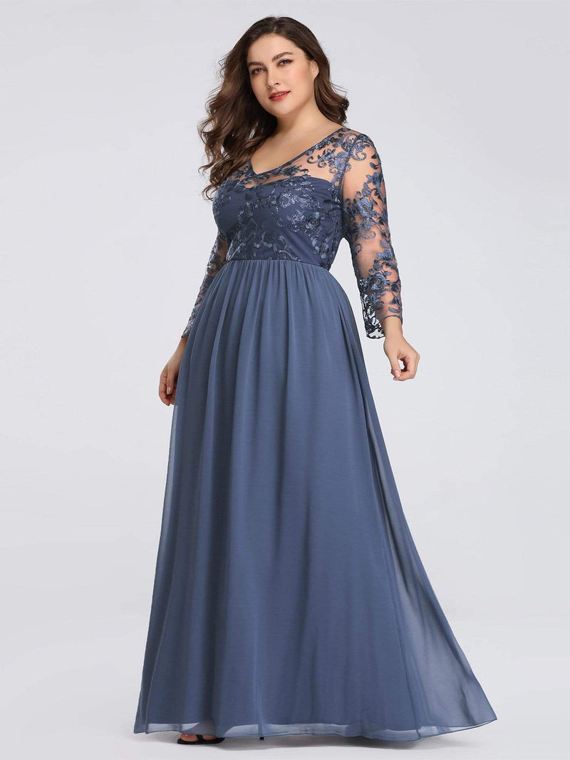 Plus Size Floor Length Evening Dress With Sheer Lace Bodice-Dusty Navy 3