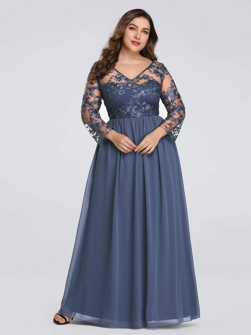 Plus Size Floor Length Evening Dress With Sheer Lace Bodice-Dusty Navy 4