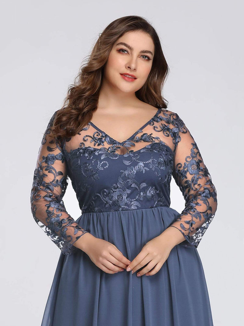 Plus Size Floor Length Evening Dress With Sheer Lace Bodice-Dusty Navy 5