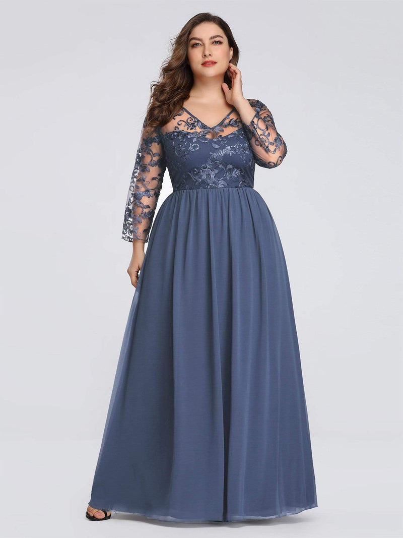 Plus Size Floor Length Evening Dress With Sheer Lace Bodice-Dusty Navy 1