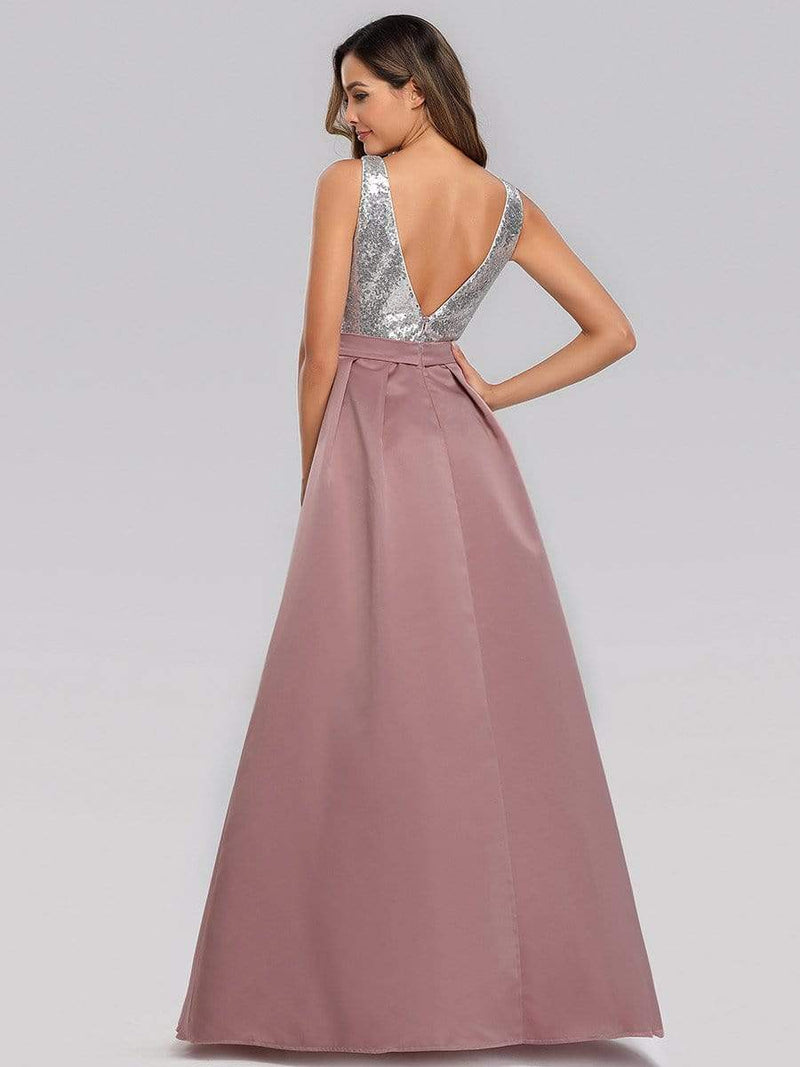 Floor Length Sequin And Satin Prom Dress-Purple Orchid 2