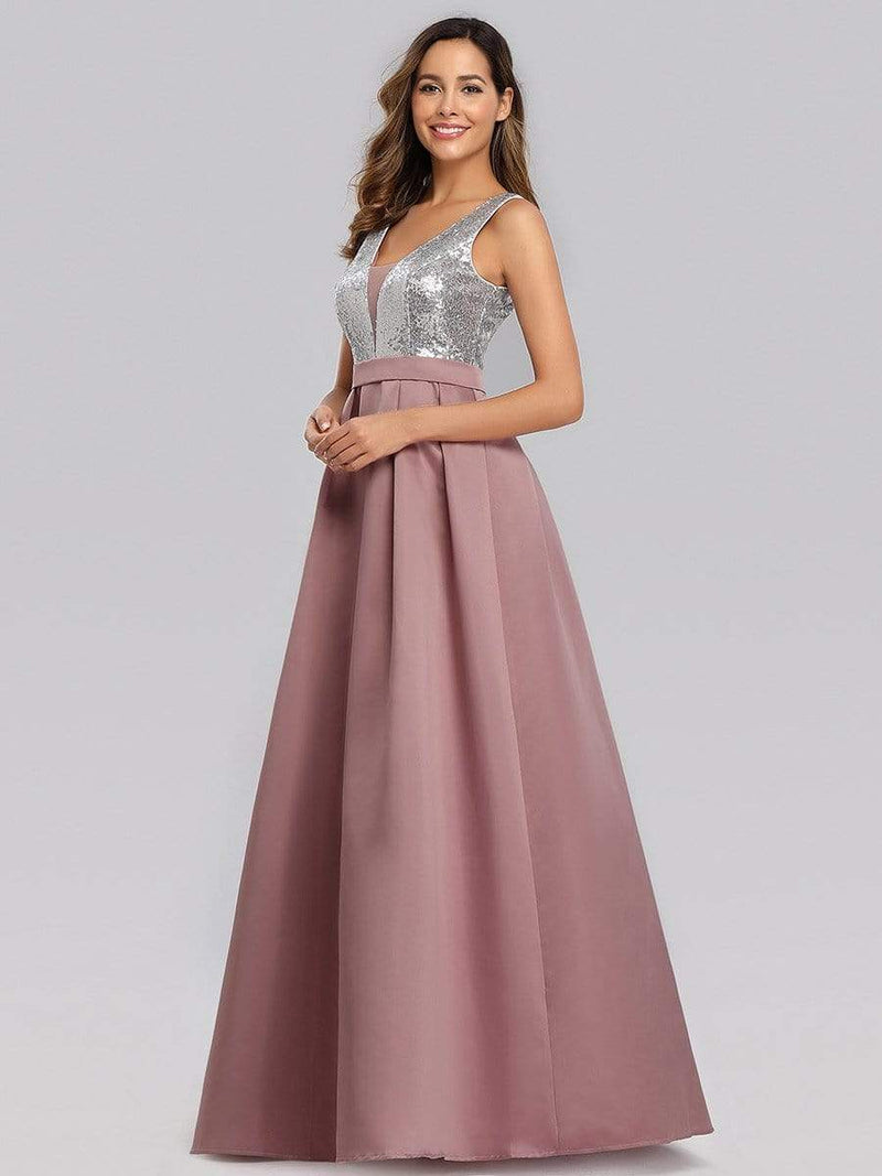 Floor Length Sequin And Satin Prom Dress-Purple Orchid 3