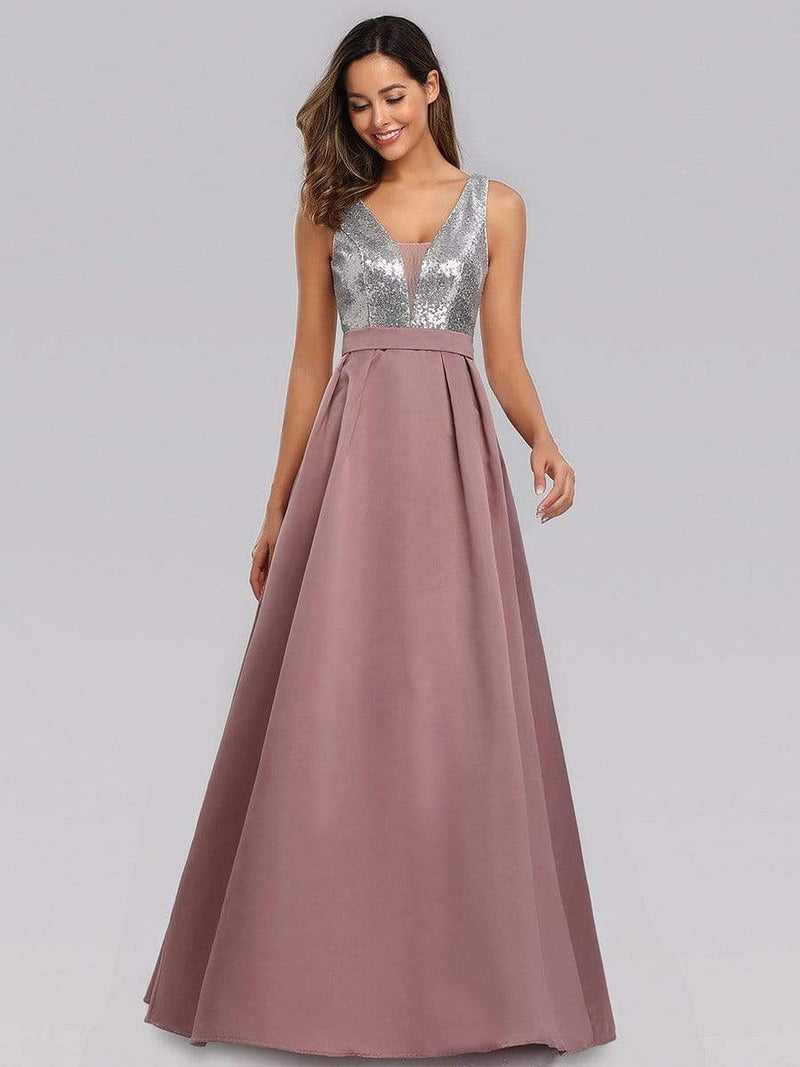 Floor Length Sequin And Satin Prom Dress-Purple Orchid 4