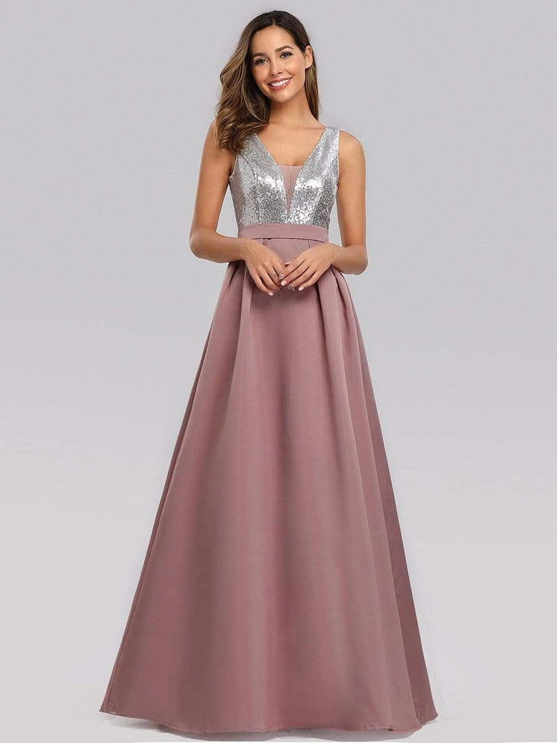 Floor Length Sequin And Satin Prom Dress-Purple Orchid 1