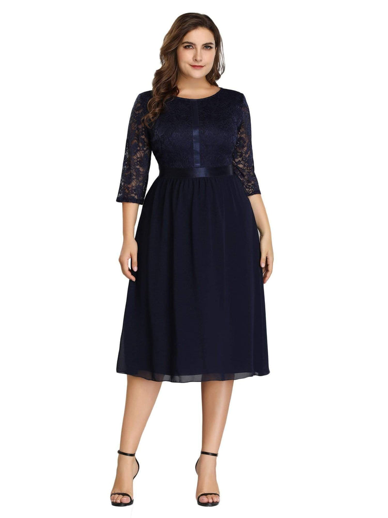 Knee Length 3/4 Sleeve Lace & Chiffon Party Dress-Navy Blue 2