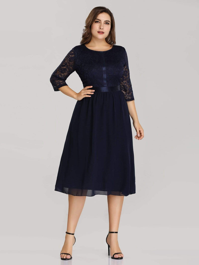 Knee Length 3/4 Sleeve Lace & Chiffon Party Dress-Navy Blue 4