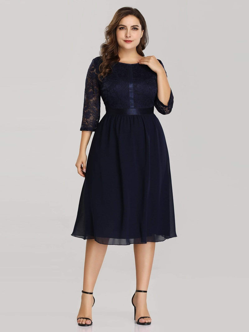 Knee Length 3/4 Sleeve Lace & Chiffon Party Dress-Navy Blue 5