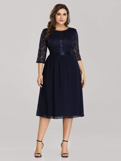 Knee Length 3/4 Sleeve Lace & Chiffon Party Dress