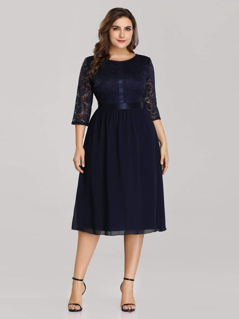 Knee Length 3/4 Sleeve Lace & Chiffon Party Dress-Navy Blue 1
