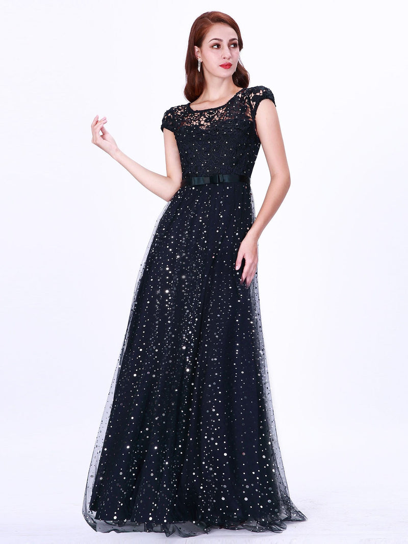 Elegant Cover Sleeve Floor Length Lace Evening Dress-Navy Blue 2