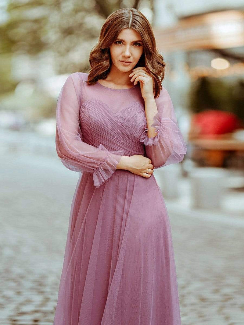 Elegant Half Sleeve Floor Length Bridesmaid Dress-Purple Orchid 8