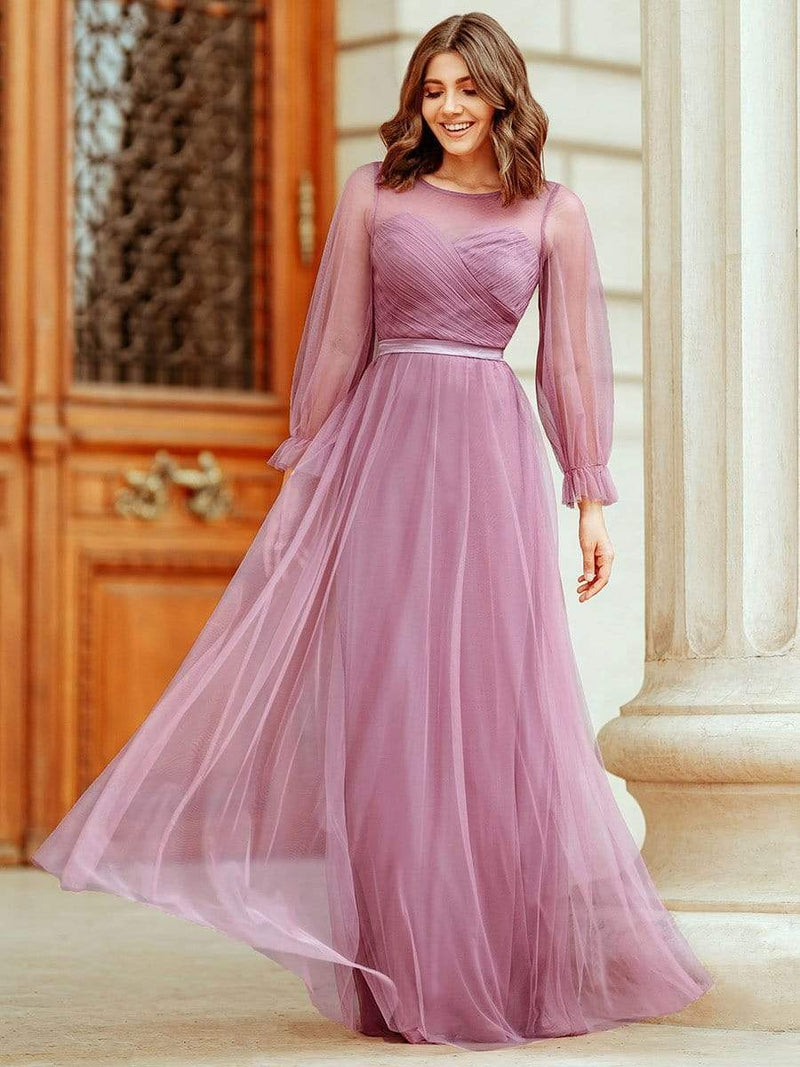 Elegant Half Sleeve Floor Length Bridesmaid Dress-Purple Orchid 1