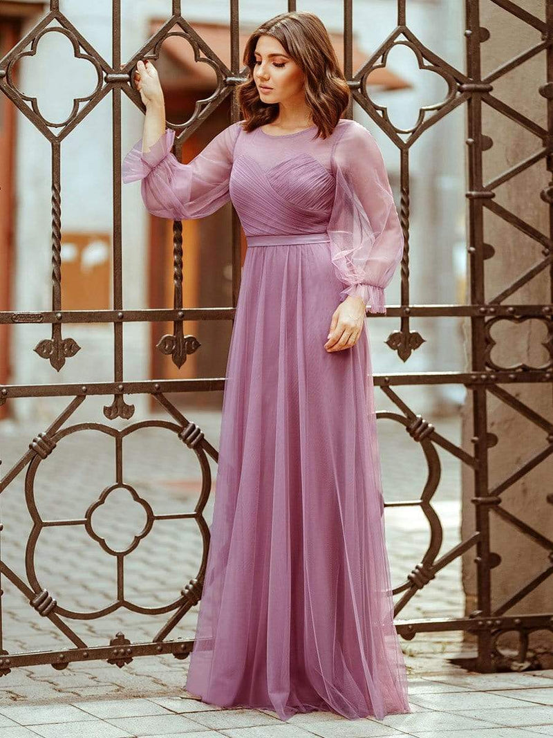 Elegant Half Sleeve Floor Length Bridesmaid Dress-Purple Orchid 3