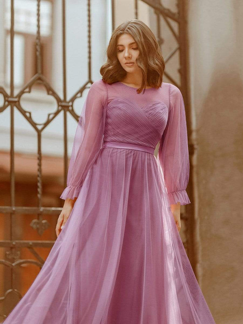 Elegant Half Sleeve Floor Length Bridesmaid Dress-Purple Orchid 4