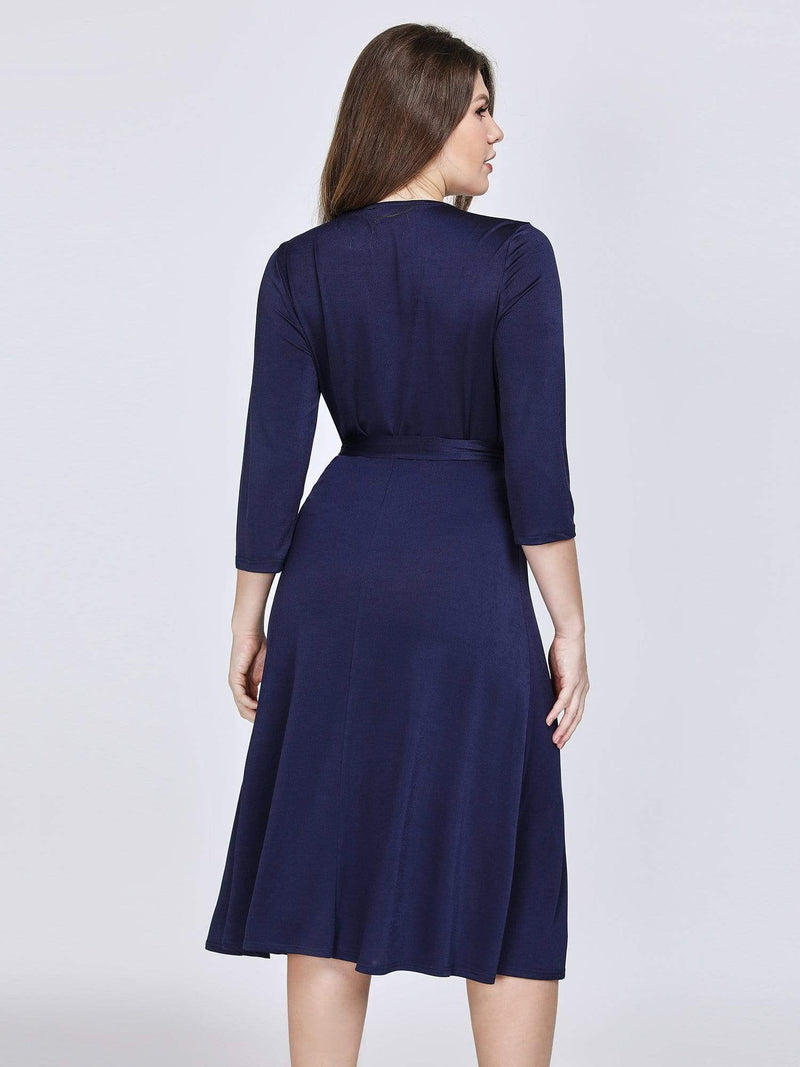 Knee Length Long Sleeve Navy Cocktail Dress-Navy Blue 2