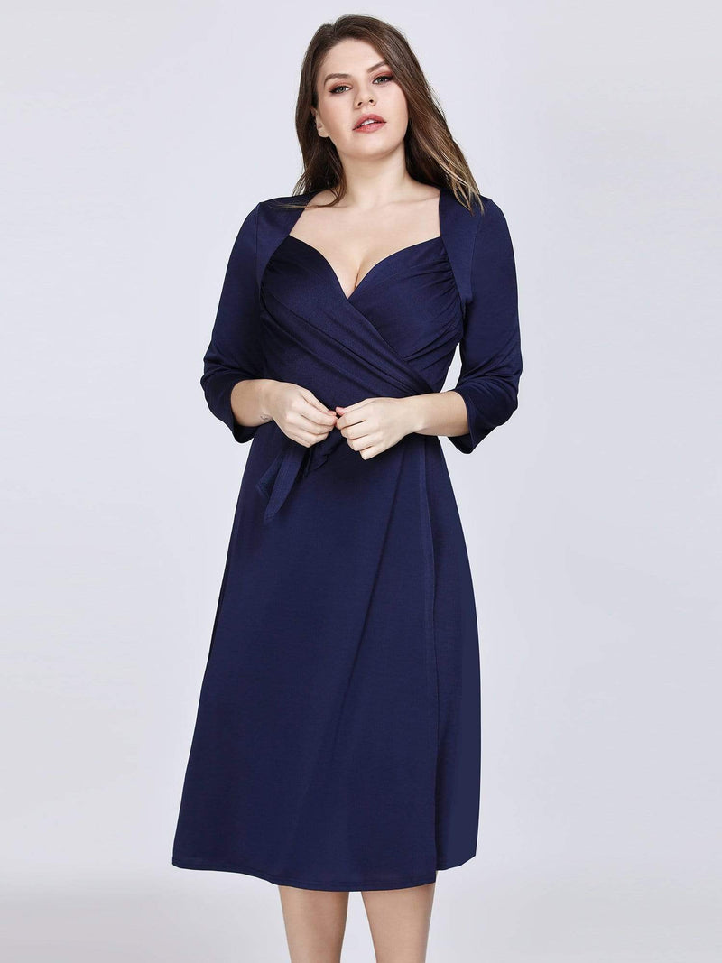 Knee Length Long Sleeve Navy Cocktail Dress-Navy Blue 3
