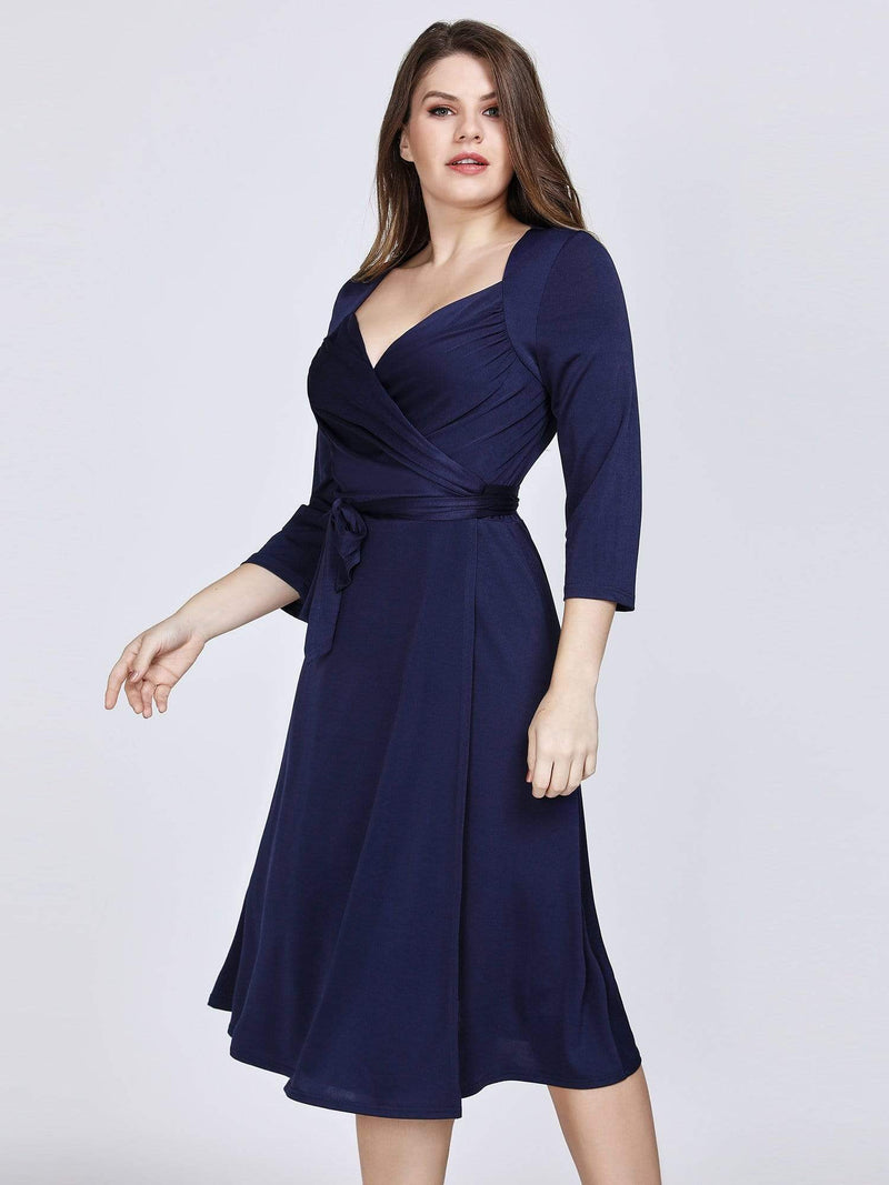 Knee Length Long Sleeve Navy Cocktail Dress-Navy Blue 4