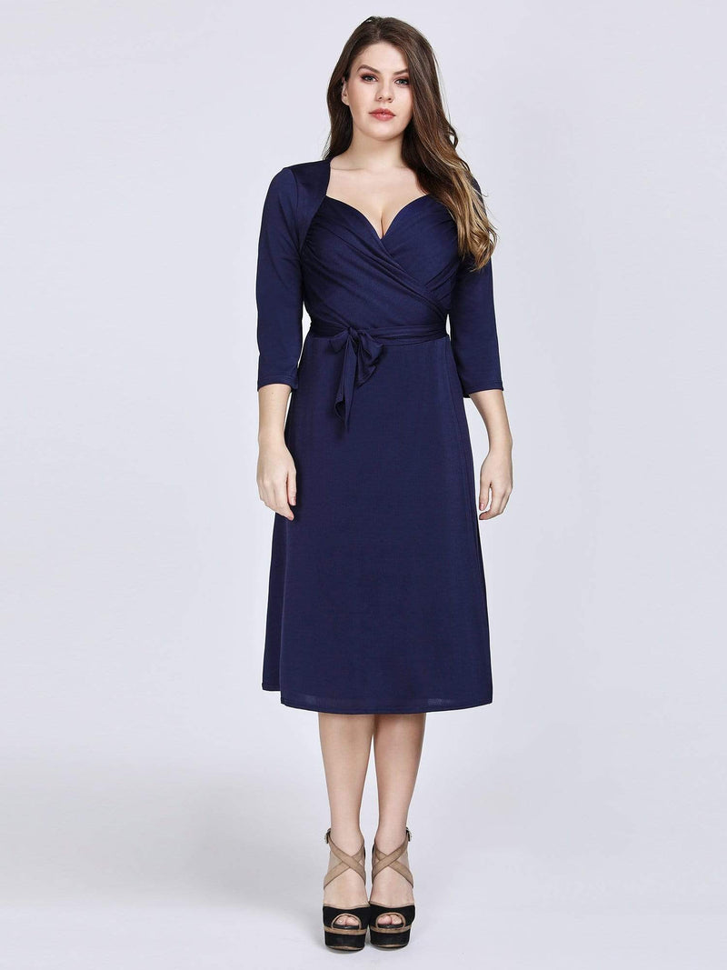 Knee Length Long Sleeve Navy Cocktail Dress-Navy Blue 5