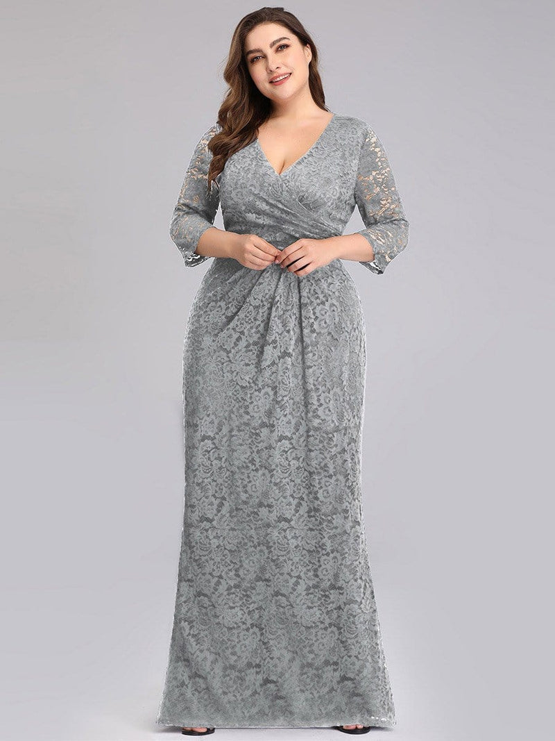 Half Sleeve Lace Evening Dress With V Neck-Grey 5