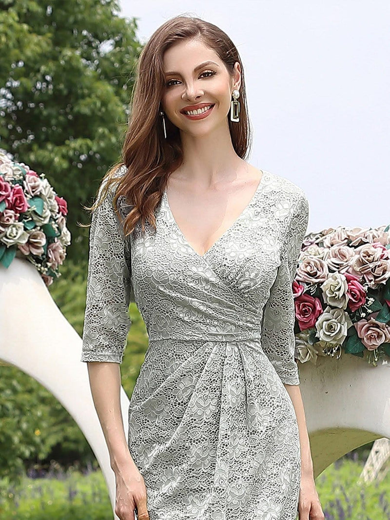 Half Sleeve Lace Evening Dress With V Neck-Grey 3