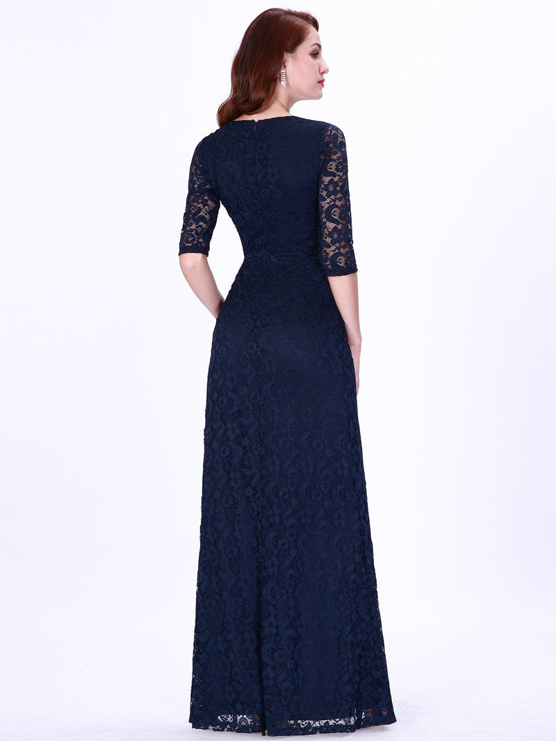 Half Sleeve Lace Evening Dress With V Neck-Navy Blue 2