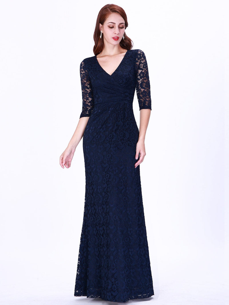 Half Sleeve Lace Evening Dress With V Neck-Navy Blue 1