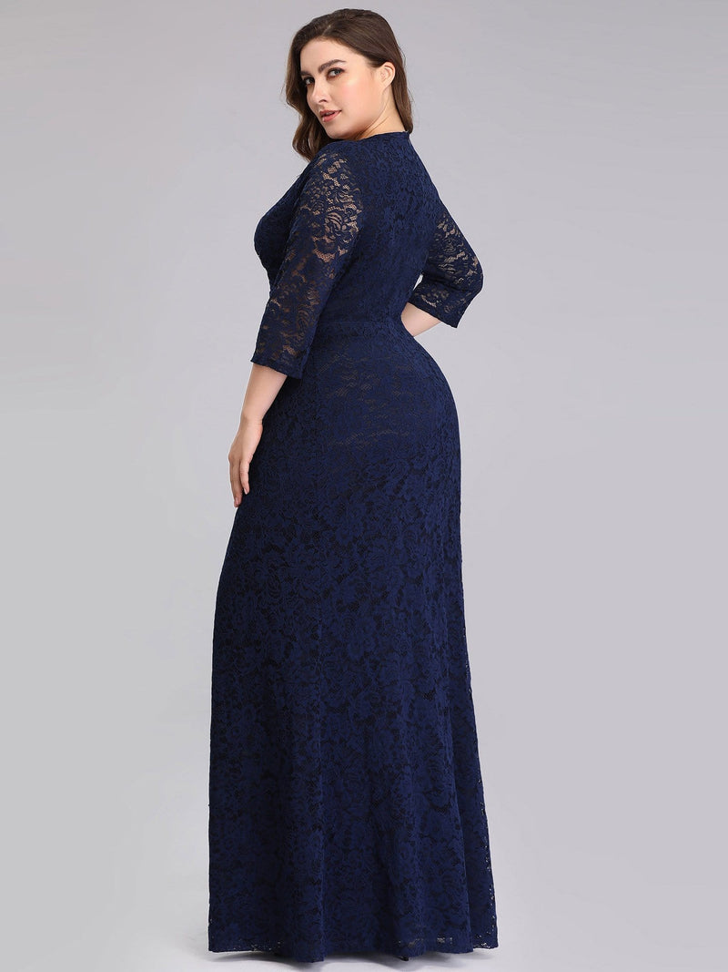 Half Sleeve Lace Evening Dress With V Neck-Navy Blue 4