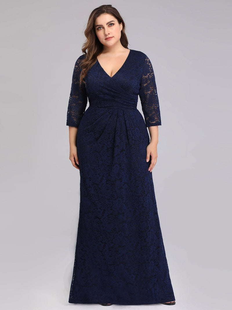 Half Sleeve Lace Evening Dress With V Neck-Navy Blue 3