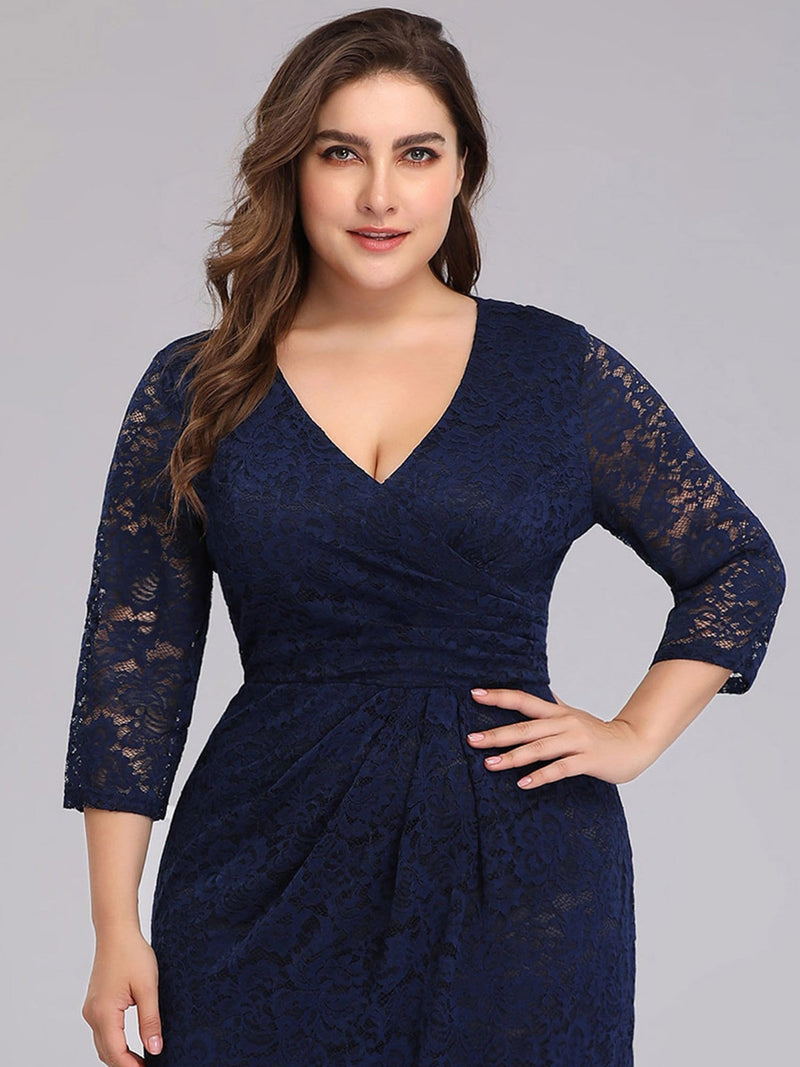 Half Sleeve Lace Evening Dress With V Neck-Navy Blue 5