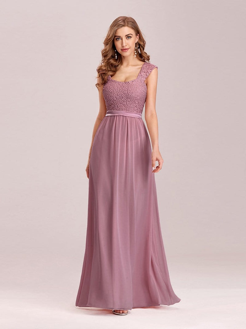 Elegant A Line Long Chiffon Bridesmaid Dress With Lace Bodice-Purple Orchid 2